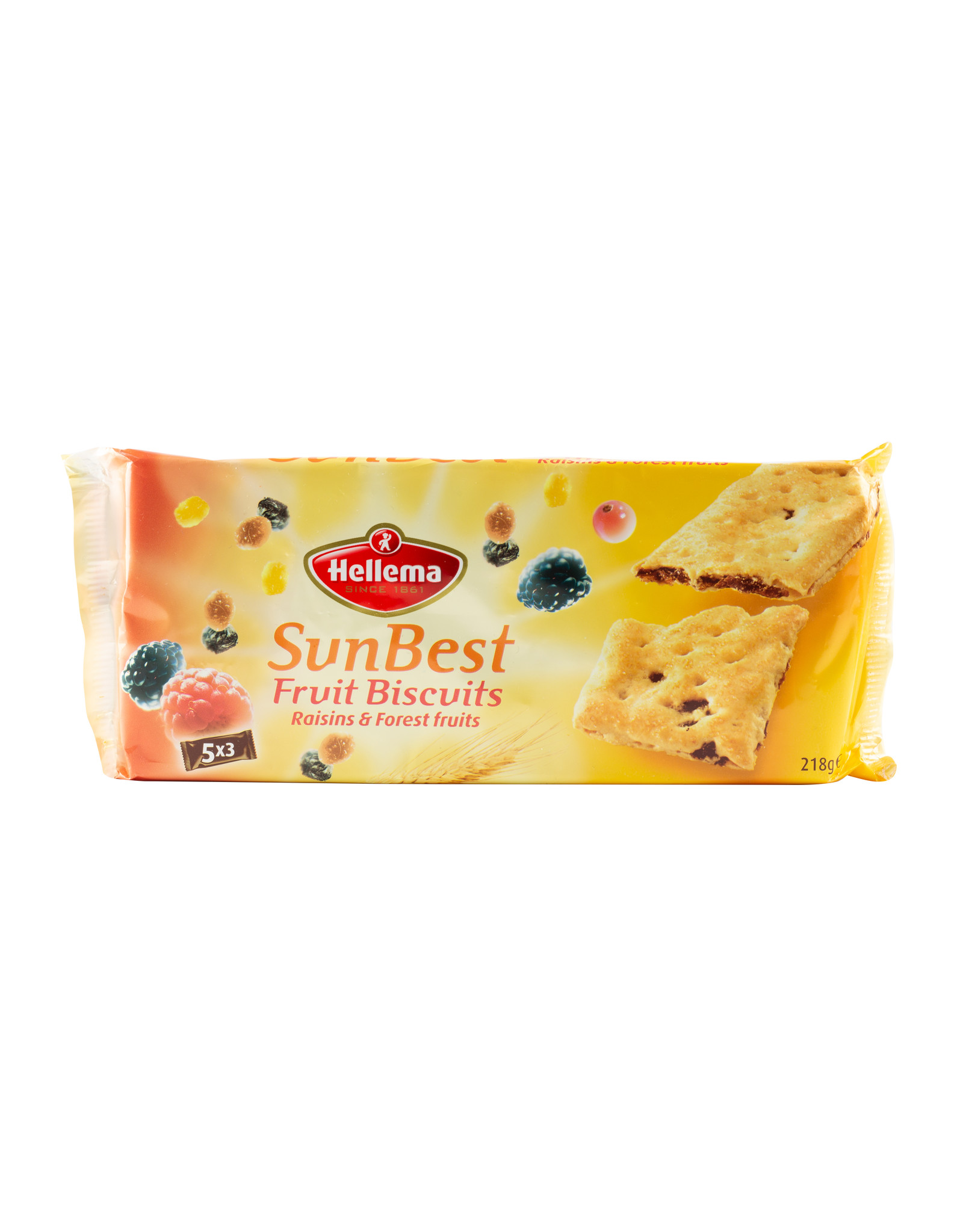 Hellema HELLEMA SunBest Fruit Biscuits RAISINS & FOREST FRUITS - 24x 218 grams pack - master carton