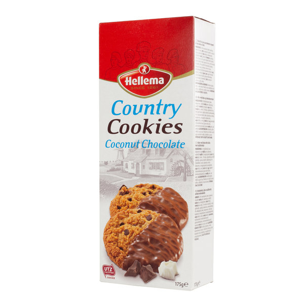Hellema HELLEMA COUNTRY Cookies Kokos chocolade - 12x 175 gram - grootverpakking