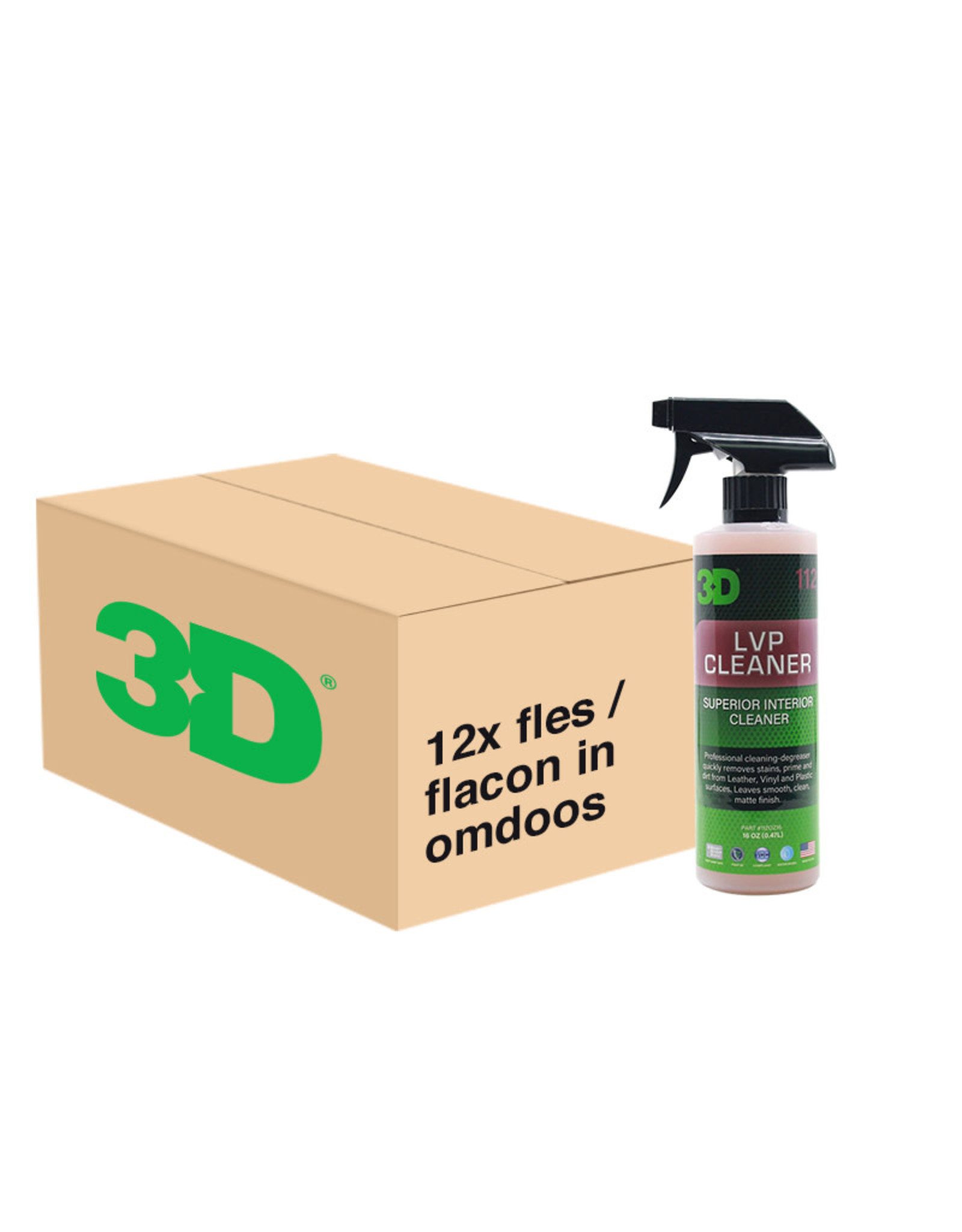 3D PRODUCTS 3D LVP Cleaner Superior Interior Cleaner - 16 oz / 473 ml - 12x Spray Fles -  grootverpakking