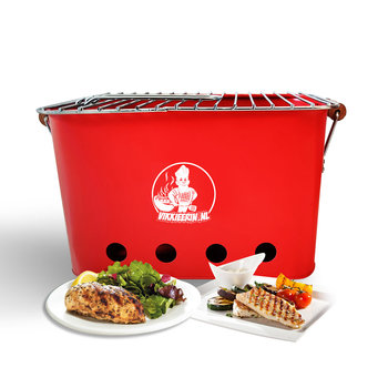 VIKKIEERIN.NL Vikkieerin.nl - Portable Charcoal BBQ - square - red