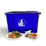 VIKKIEERIN.NL Vikkieerin.nl - Medium Portable Charcoal BBQ - square - blue