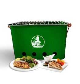 VIKKIEERIN.NL Vikkieerin.nl - Portable Charcoal BBQ -  square - green