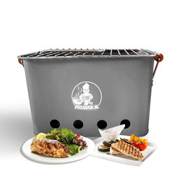 VIKKIEERIN.NL Vikkieerin.nl - Portable Charcoal  BBQ -  square - grey