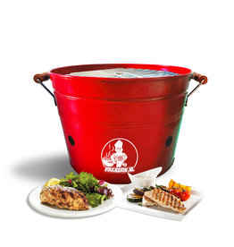 VIKKIEERIN.NL Vikkieerin.nl - Portable Charcoal Bucket BBQ - Ø38 cm - red