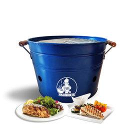 VIKKIEERIN.NL Vikkieerin.nl - Draagbare Emmer Houtskool BBQ - Ø38 cm - blauw