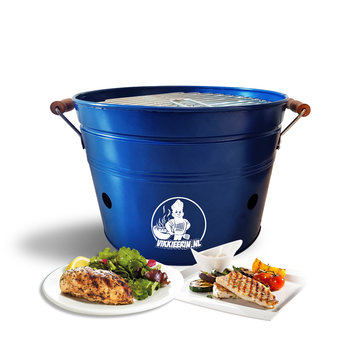 VIKKIEERIN.NL Vikkieerin.nl - Portable Charcoal Bucket BBQ - Ø38 cm - blue