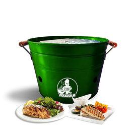 VIKKIEERIN.NL Vikkieerin.nl - Portable Charcoal Bucket BBQ - Ø38 cm - green