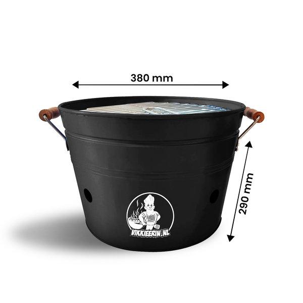 VIKKIEERIN.NL Vikkieerin.nl - Large Portable Charcoal Bucket BBQ - round - black - Ø38 cm