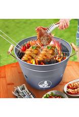 VIKKIEERIN.NL Vikkieerin.nl - Large Portable Charcoal Bucket BBQ - round - grey - Ø38 cm