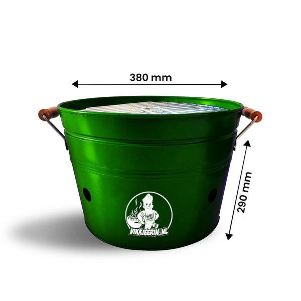 VIKKIEERIN.NL Vikkieerin.nl - Large Portable Charcoal Bucket BBQ - round - green - Ø38 cm