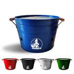 VIKKIEERIN.NL Vikkieerin.nl - Large Portable Charcoal Bucket BBQ - round - blue - Ø38 cm