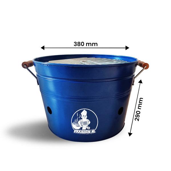 VIKKIEERIN.NL Vikkieerin.nl - Groot Draagbare Emmer Houtskool BBQ - rond - blauw - Ø38 cm