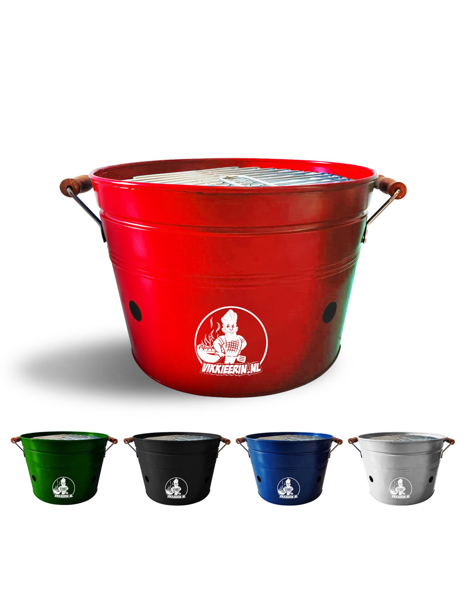 VIKKIEERIN.NL Vikkieerin.nl - Large Portable Charcoal Bucket BBQ - round - red - Ø38 cm