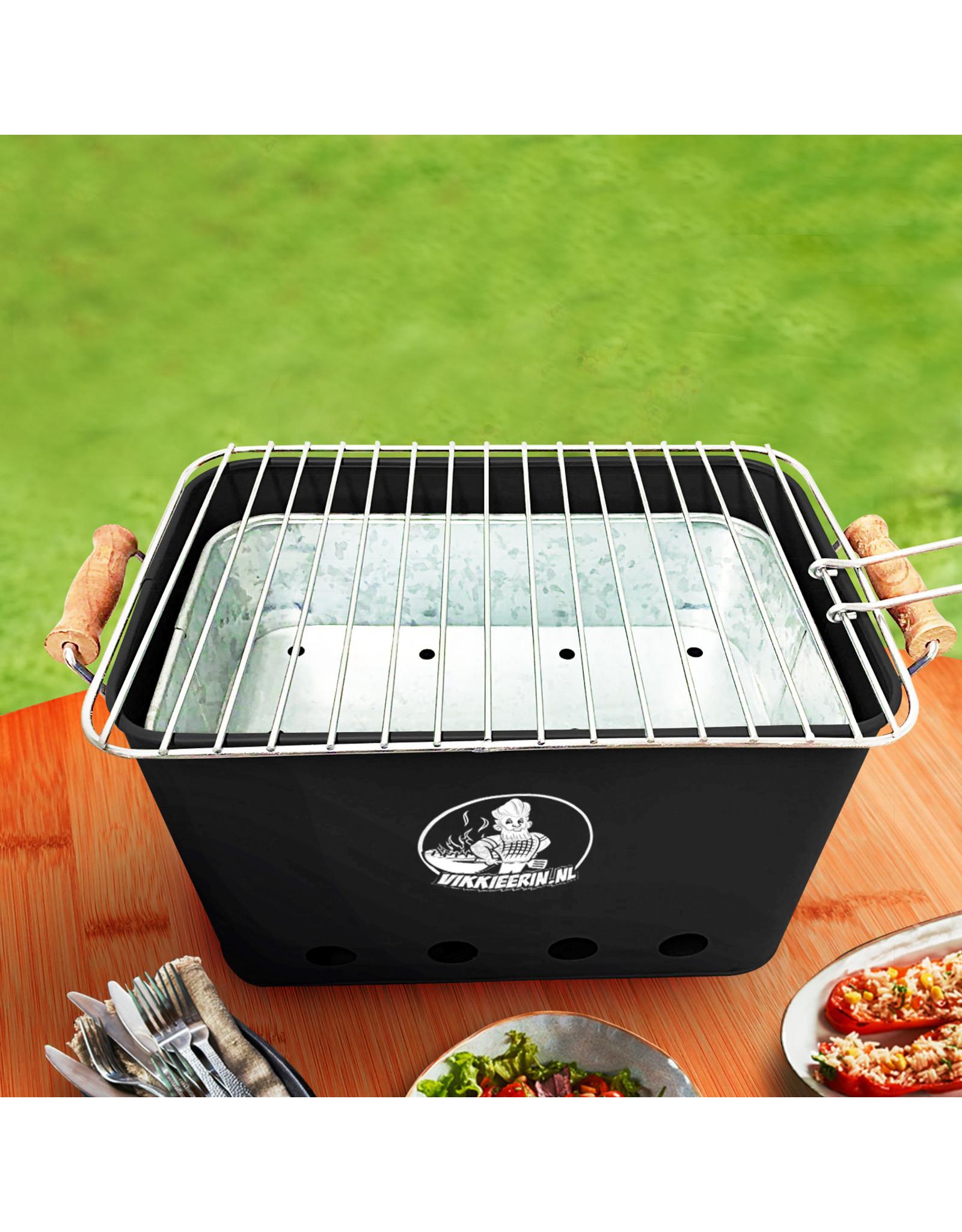 VIKKIEERIN.NL Vikkieerin.nl - Medium Portable Charcoal BBQ - square - black