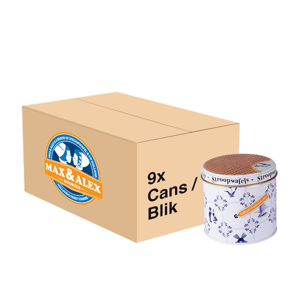 Max & Alex Max & Alex Sirup Waffles in Tin Can with Delft Blue  (250 gram) 9x - master carton