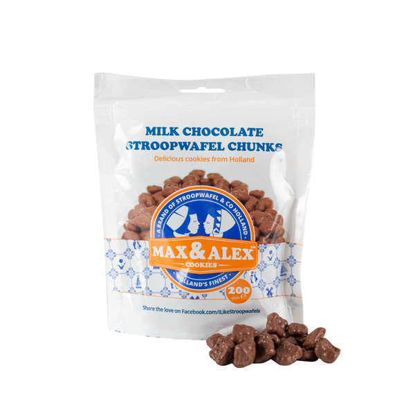 Max & Alex Max & Alex - Sirop Marceaux de Gaufrette Chocolat au Lait - 32x 200 gramme poche  (carton principal)