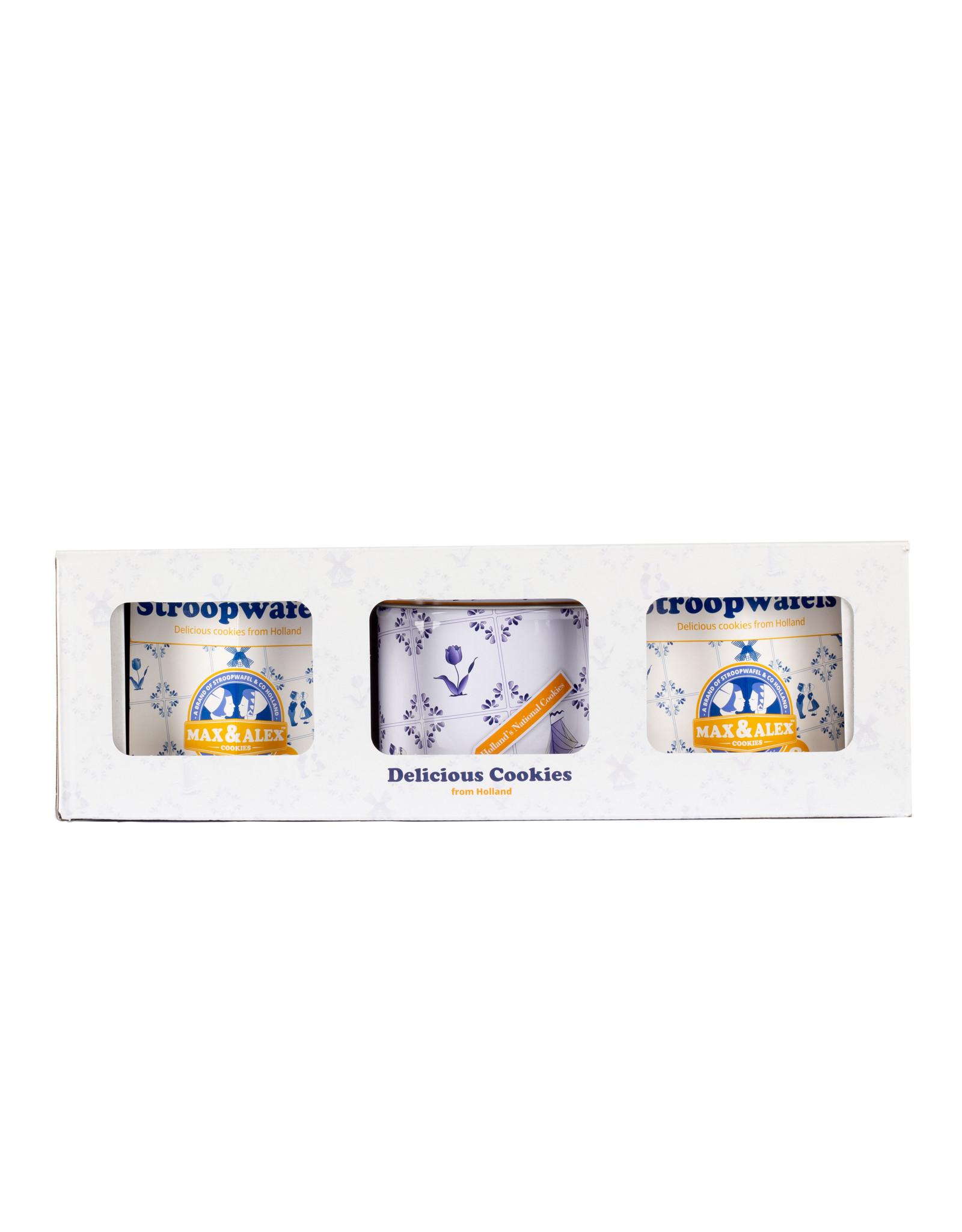 Max & Alex Max & Alex Stroopwafels in Deluxe Geschenkset (2x hexa + 1x blik) in doos