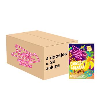 Let's Let's Wortel & Banaan Groente & Fruit Snoep - 4 x 90 gram - omdoos