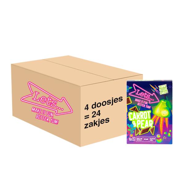 Let's Let's Wortel & Peer Groente & Fruit Snoep - 4x 90 gram - omdoos