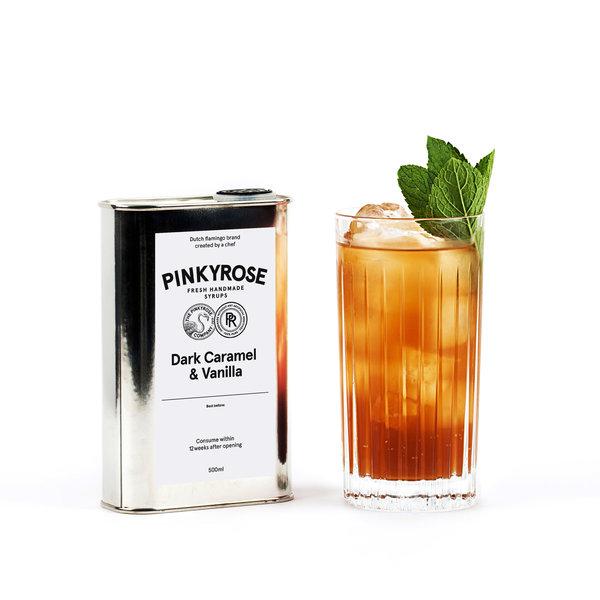PINKYROSE PinkyRose - Dark Caramel & Vanilla smaak - verse handgemaakte siroop - 500 ml