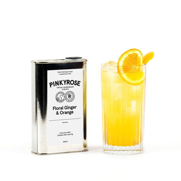 PINKYROSE  PinkyRose - Floral Ginger & Orange smaak - verse handgemaakte siroop - 500 ml
