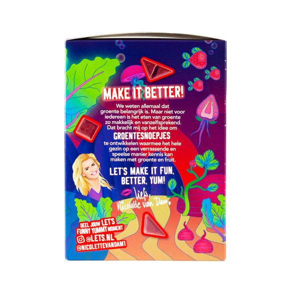 Let's Let's Biet & Aardbei Groente & Fruit Snoep - 4 x 90 gram - omdoos