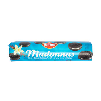 Hellema Hellema - Madonnas - Cacao cookies - Dark biscuit with Vanilla cream filling - brown - 176 gram - pakje