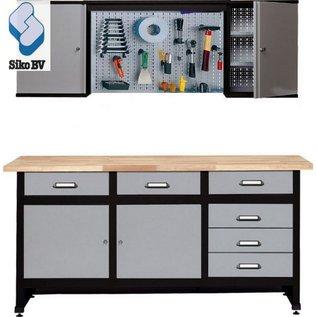 Werkbank 170cm met hangkast en gereedschapswand