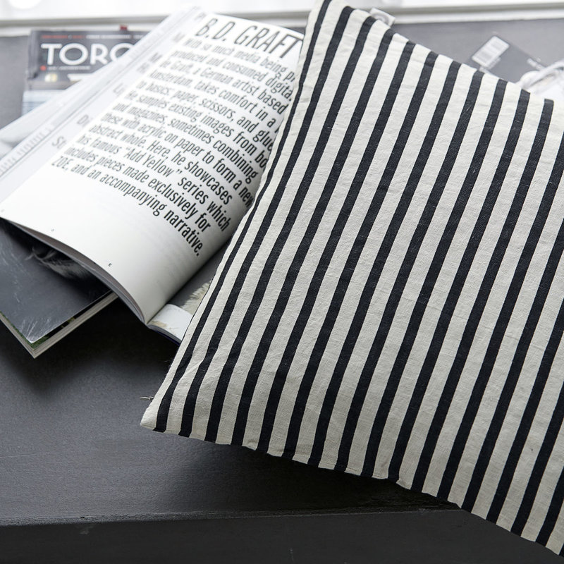 House Doctor Cushion cover, Stripe, Black/Grey
