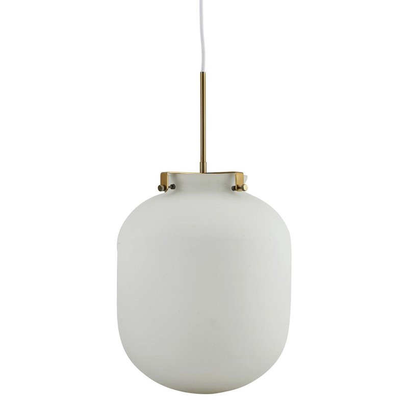 House Doctor Lamp, Ball, White, E27, Max 25 W, 1.60 m cable, Handmade gla