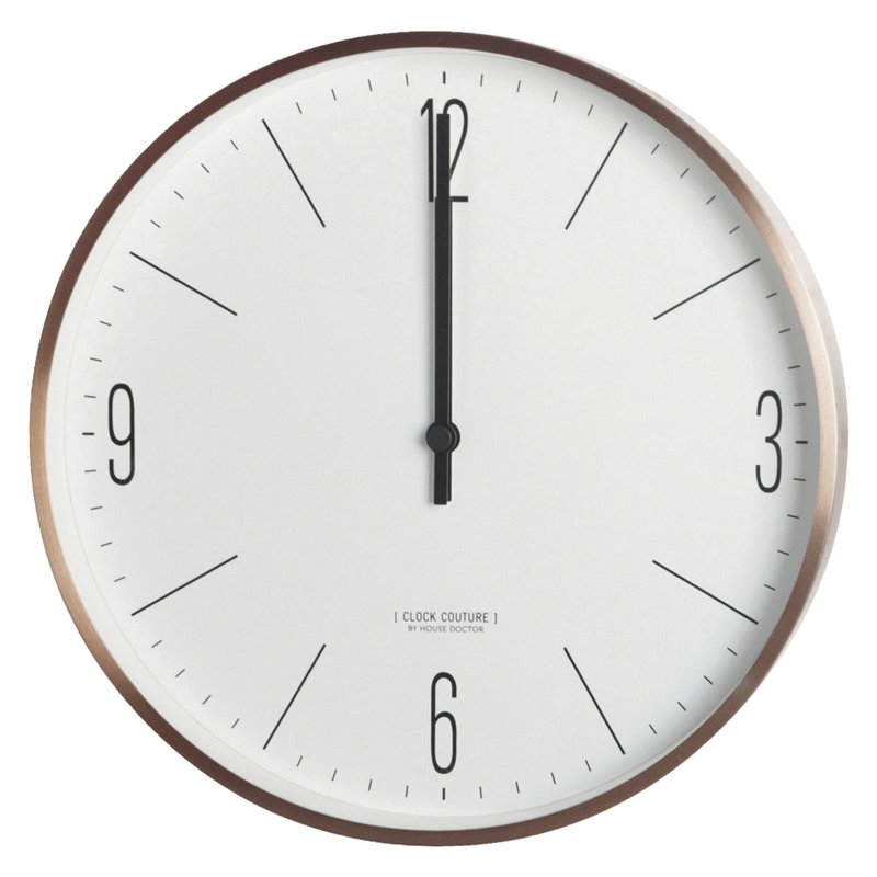 House Doctor Wandklok, Clock Couture, wit/Goud