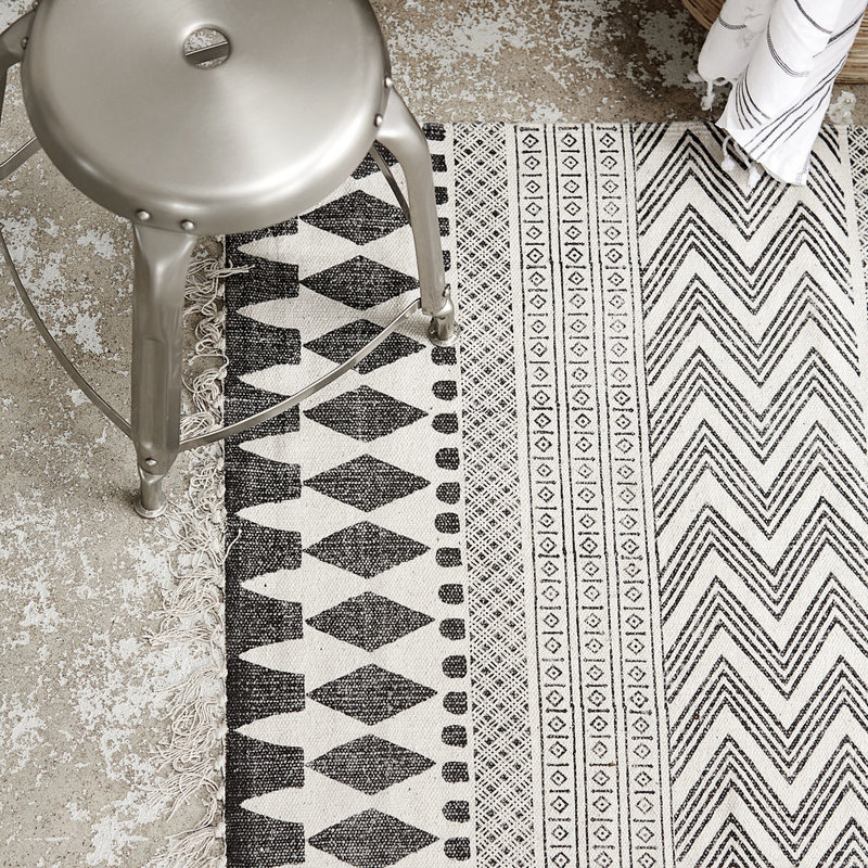 House Doctor Rug, Block, Grey/Black, Size may vary