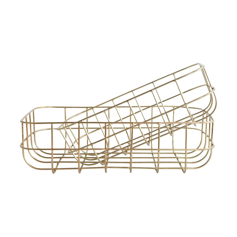 House Doctor Baskets, Simply, Shiny gold, Set of 2 sizes