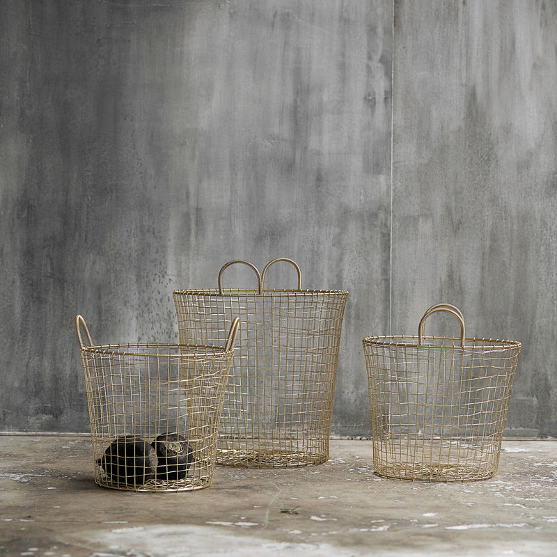 House Doctor Baskets, Wire, Brass, Set of 3 sizes