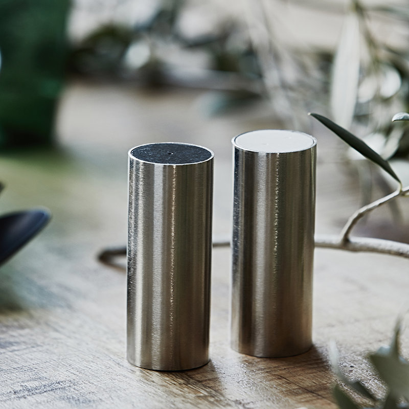 House Doctor Salt and pepper, Tall, Brushed silver finish, Set of 2 pcs