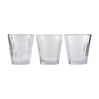 House Doctor Glass, Vintage, Clear, Pack of 6 pcs, Set of 3 designs