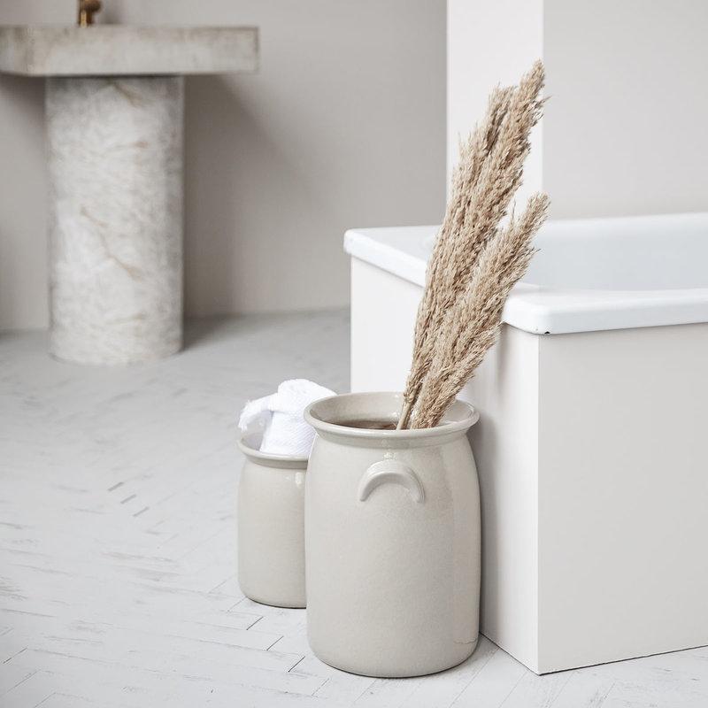 Meraki Ceramic jar, Shellish grey, Large