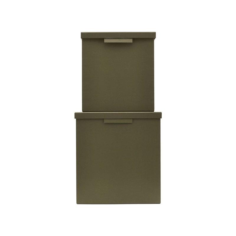Monograph Boxes w. lids, File, Army green, Set of 2 sizes