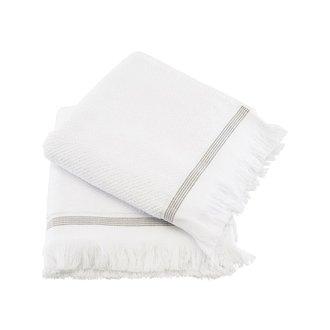 Meraki Towel, 50x100 cm, White w. grey stripes, Set of 2 pcs, Organ