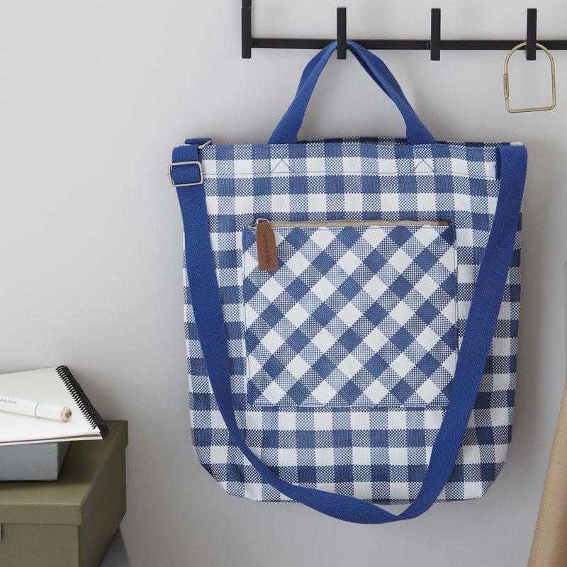 Monograph Bag, Check, Blue