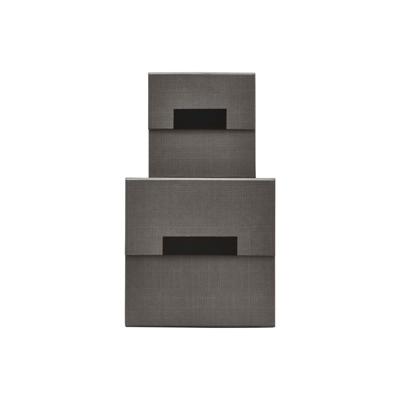 House Doctor Storage w. lid, Check, Beige/Grey, Set of 2 sizes