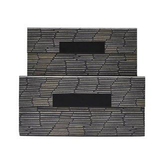 House Doctor Storage w. lid, Stripe, Black/Beige/Grey, Set of 2 sizes