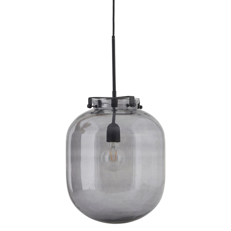 House Doctor Lamp, Ball, Grey, E27, Max 25 W, 1.60 m cable, Handmade glas