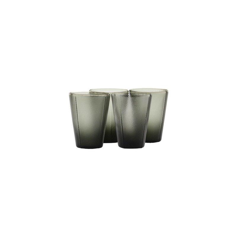 House Doctor Glass, Milo, Smoked grey, Set of 4 pcs