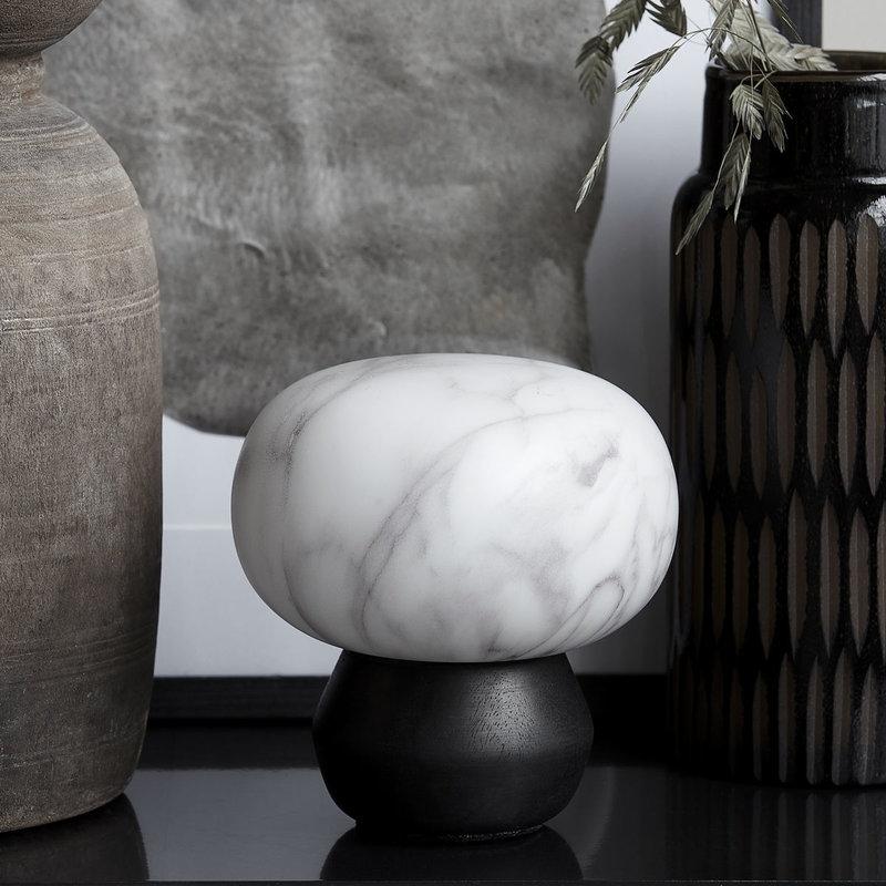 House Doctor Lantern, Fog, Black/White marble