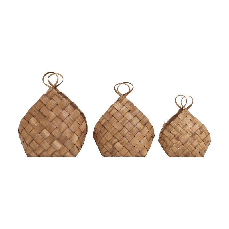 House Doctor Baskets, Conical, Brown, Set of 3 sizes
