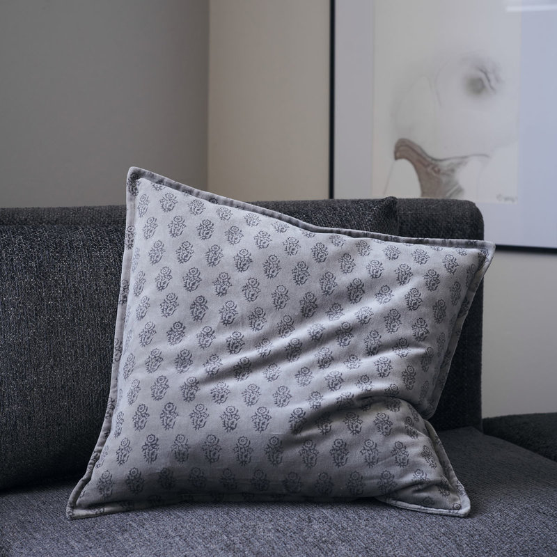 House Doctor Cushion cover, Velv, Grey, Print will vary
