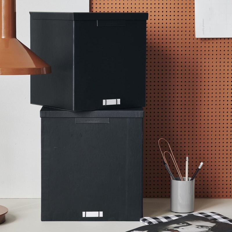 Monograph Boxes w. lids, File, Black, Set of 2 sizes