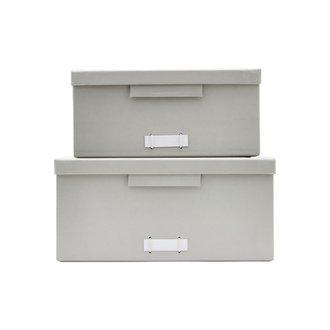 Monograph Boxes w. lids, File, Grey, Set of 2 sizes