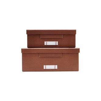 Monograph Boxes w. lids, File, Cognac, Set of 2 sizes